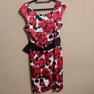 White House Black Market Dresses - WHBM rose print pencil dress